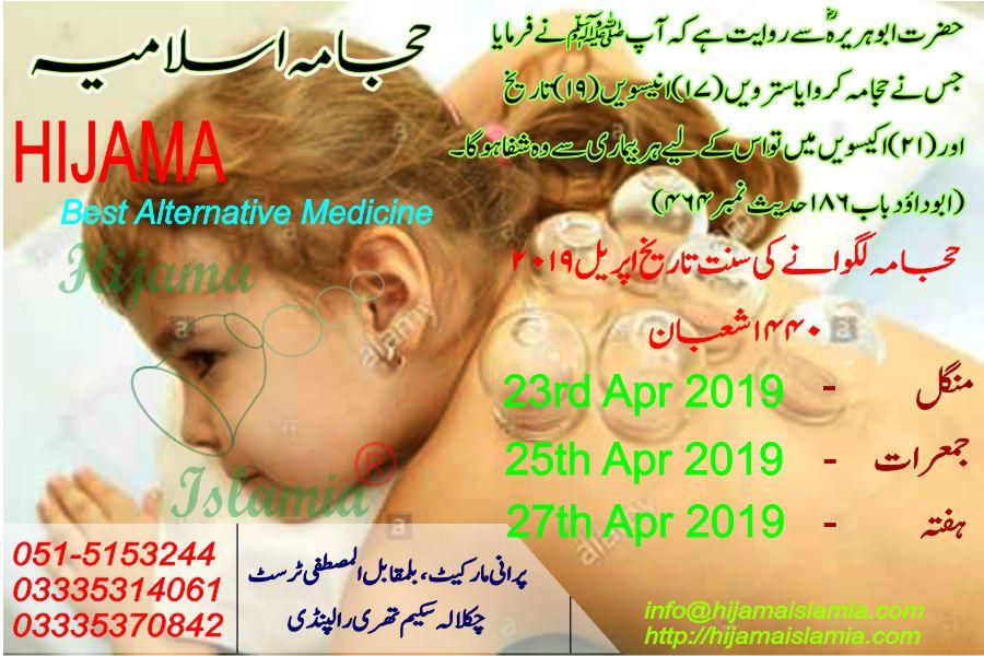 Hijama Cupping Sunnah Days | Dates (Lunar Month) | April